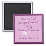 90th Birthday Save the Date Pink Floral Magnet