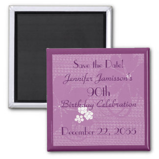 90th Birthday Save the Date Purple / White Magnet