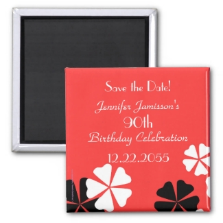 90th Birthday Save the Date Red Floral Magnet