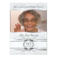 90th Birthday - Silver Damask Photo Invitation