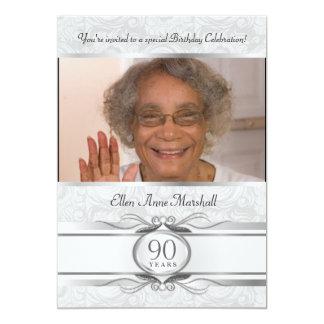 90th Birthday - Silver Damask Photo Invitation