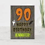 [ Thumbnail: 90th Birthday: Spooky Halloween Theme, Custom Name Card ]
