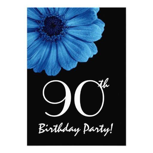 90th Birthday Template Blue Daisy Personalized Invitations