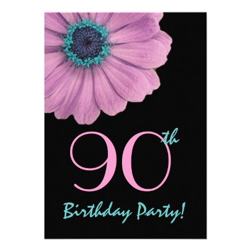 90th Birthday Template - Pink Daisy Invitations