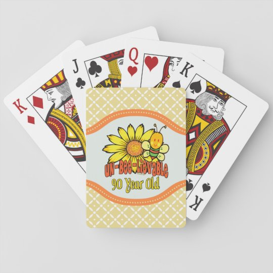 90th Birthday Unbelievable At 90 Years Old Playing Cards Zazzle