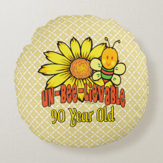 90th Birthday - Unbelievable at 90 Years Old Round Pillow