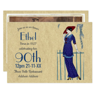 90th Birthday Vintage 1920s Invite ArtDeco Nouvea