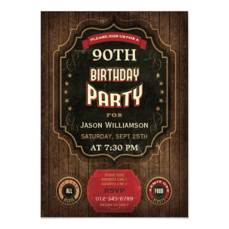 90th Birthday Vintage Chalkboard & Wood 5x7 Paper Invitation Card
