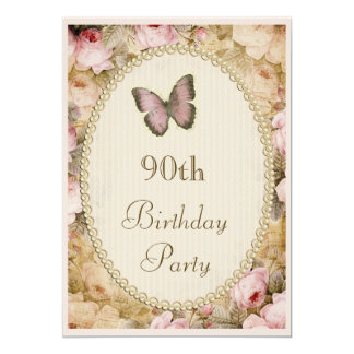 90th Birthday Vintage Roses Butterfly, Music Notes 5x7 Paper Invitation Card