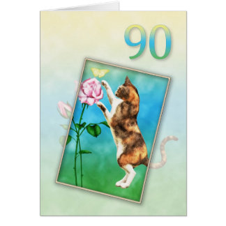 90th Birthday with a playful cat Card