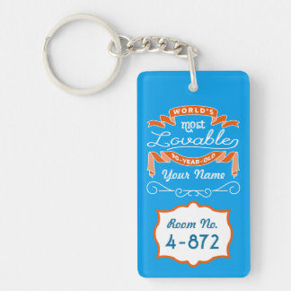 90th Birthday World's Most Lovable 90-Year-Old Keychain