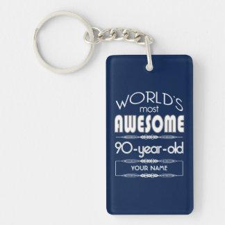90th Birthday Worlds Best Fabulous Dark Blue Double-Sided Rectangular Acrylic Keychain