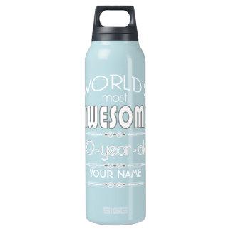 90th Birthday Worlds Best Fabulous Dark Blue Insulated Water Bottle