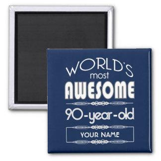 90th Birthday Worlds Best Fabulous Dark Blue Magnet