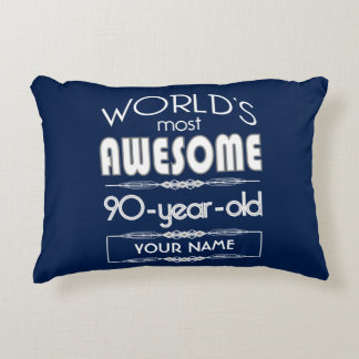 90th Birthday Worlds Best Fabulous Dark Blue Accent Pillow