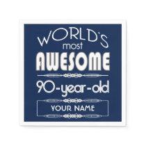 90th Birthday Worlds Best Fabulous Dark Blue Paper Napkin