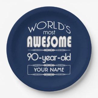 90th Birthday Worlds Best Fabulous Dark Blue Paper Plate