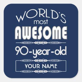 90th Birthday Worlds Best Fabulous Dark Blue Square Sticker