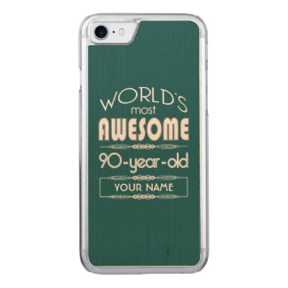 90th Birthday Worlds Best Fabulous Dark Green Carved iPhone 8/7 Case