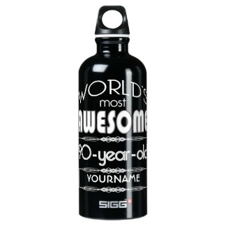 90th Birthday Worlds Best Fabulous Dark Green Fore Aluminum Water Bottle
