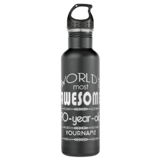 90th Birthday Worlds Best Fabulous Dark Green Fore Stainless Steel Water Bottle