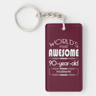 90th Birthday Worlds Best Fabulous Dark Red Keychain