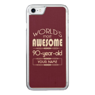 90th Birthday Worlds Best Fabulous Dark Red Maroon Carved iPhone 8/7 Case