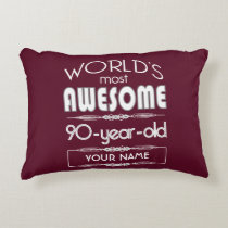 90th Birthday Worlds Best Fabulous Dark Red Maroon Decorative Pillow