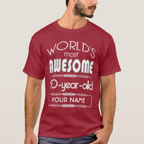 90th Birthday Worlds Best Fabulous Dark Red Maroon T_Shirt