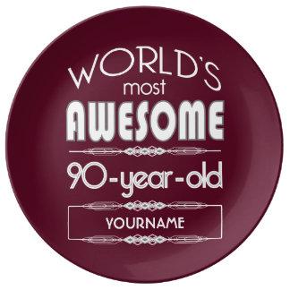 90th Birthday Worlds Best Fabulous Dark Red Porcelain Plates