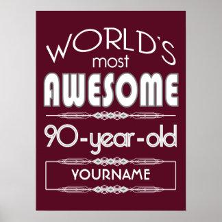 90th Birthday Worlds Best Fabulous Dark Red Poster