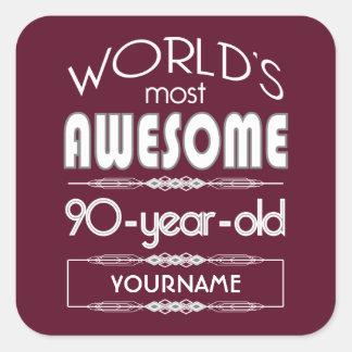 90th Birthday Worlds Best Fabulous Dark Red Square Sticker