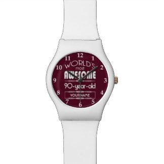 90th Birthday Worlds Best Fabulous Dark Red Wrist Watch