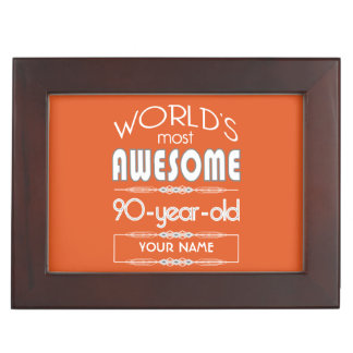 90th Birthday Worlds Best Fabulous Flame Orange Memory Boxes