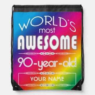 90th Birthday Worlds Best Fabulous Rainbow Drawstring Backpack