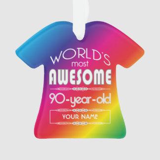 90th Birthday Worlds Best Fabulous Rainbow Ornament