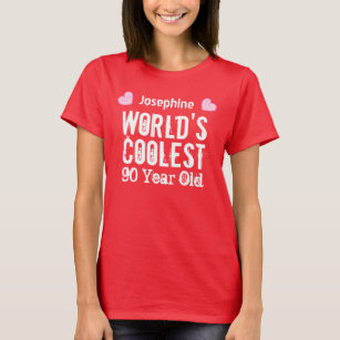 90th Birthday Worlds Coolest 90 Year Old H90C2 T Shirt
