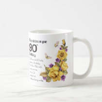 90th Birthday Yellow Rose And Butterfly Gift Mug, Coffee Mug