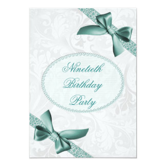 90th Damask and Bows Birthday Party Card
