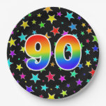 [ Thumbnail: 90th Event: Bold, Fun, Colorful Rainbow 90 Paper Plate ]