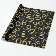 90th Gold/Black Birthday Party Collage Theme Wrapping Paper