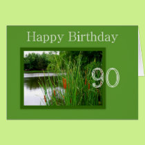 90th Happy Birthday Cat Tails on Pond Card