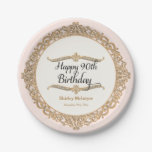 90th Happy Birthday Party Celebration Round Decor 7 Inch Paper Plate