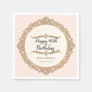 90th Happy Birthday Party Celebration Round Decor Napkin