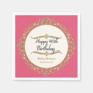 90th Happy Birthday Party Celebration Round Decor Disposable Napkins