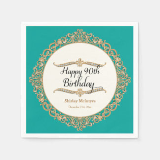90th Happy Birthday Party Celebration Round Decor Paper Napkin