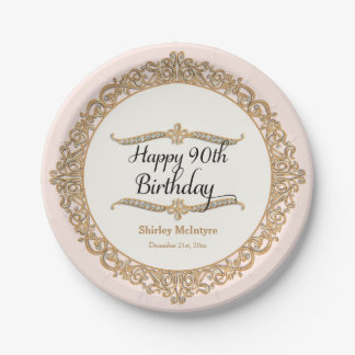 90th Happy Birthday Party Celebration Round Decor Paper Plate