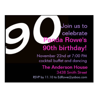 90th Ninetieth Ninety Birthday Party Postcard Invi