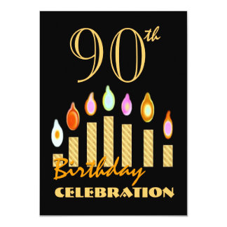90th or Any Year Birthday Gold Candles Budget C10 4.5x6.25 Paper Invitation Card