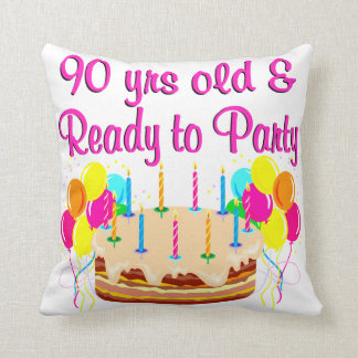 90TH PARTY GIRL THROW PILLOW